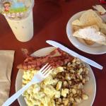 "Full breakfast platter (""2 eggs cooked almost any way, hash-browns or grits, choice of ham, baco"
