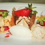 Trio of dessert, ricotta canoli, almond parfait and strawberry gratin