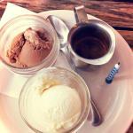 Chocolate gelato + vanilla gelato at Libretto