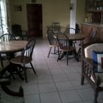Small breakfast/dining area. There's a microwave, fridge, toaster oven and lots of dishes for us