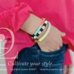 Frank & Eileen linen blouse, striped bracelets by Julie Thevenot.