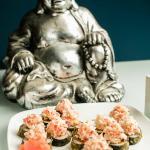 Buddha: Plantain Tempura, Crunchy Salmon topped w/ oven baked crab salad