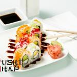 Lion Maki: Lion Fish Tempura, Avocado, Cream Cheese topped w/ Tobico