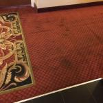 Stained hallway carpet