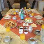 Fabulous breakfast laid out for the eight people in our party