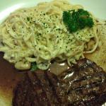 Spaghetti a carbonara com file! Delicioso!