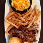 Pulled pork, fries, and bacon macaroni and cheese. :)