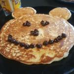"""Mickey Mouse Pancake"" A childrens favorite topped with chocolate chips."