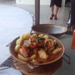 Best fish dish ever. Cataplana with monkfish, prawns and clams.  Brilliant meal and great servic