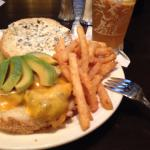 Having a California Burger with avocado and cheddar cheese. The fries are perfect . Burger and f