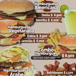 Diferente tipo de hamburguesas: Americana, árabe y vegetariana.