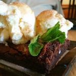 Coconut Ice Cream on a Chai Latter Brownie
