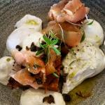 Hash Brown, Cured Salmon, Poached Eggs, Fried Capers & Whipped Cream cheese