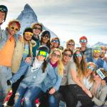 Staff From ES Verbier and ES Zermatt gather together for the Zermatt bumps competition
