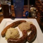 Sausage plate (farmer's hot & spicy Italian) with potatoes and sauerkraut