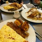 Mexican omelet, French toast special & scrambled eggs & sausage