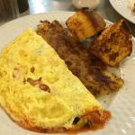 Mexican Omelet, hash browns & corn muffin