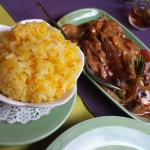 Duck and Vegetables in Sauce and Fried Rice