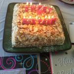 Burnt almond torte decorated for my daugher's 16th birthday!