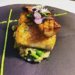 Halibut with green pea risotto