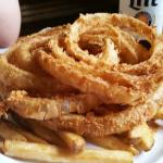 Combo fries & skinny onion rings (they have thick ones as well)...