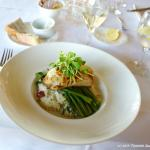 Pickerel on risotto and asparagus