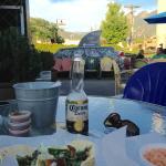 Delicious chicken & carnitas tacos on a summer night