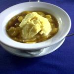 This combination dessert of hot and cold, ice cream and sauteed syruped bananas. Beautiful
