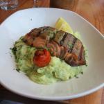 Salmon and basil mash