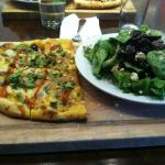 Thai pizza with blue cheese side salad