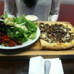 Mushroom pizza with side salad