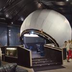 Planetarium dome inside the shed.