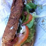 Toasted Tuna foot long loaded on a honey wheat roll