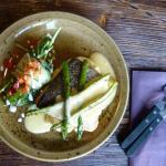 stir fried cod, matched potatoes, sauce bernaise and asparagus