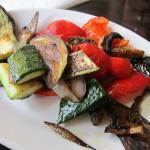 Plate with grilled vegetables.