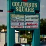 View of the Columbus Square shopping center sign without Pasqualone's name