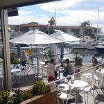 Indoor and outdoor dining overlooking the Marina.