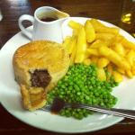Jail Ale Pie, Peas, and Chips