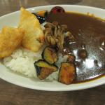 hash curry with fried fish and veggies