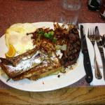 Steak and Hash Browns with Eggs and French Toast