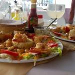 Shrimp El Diablo con coconut.... Excellent. You must try it. The perfect blend of spicy and swee