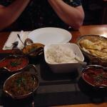 The banquet was a perfect selection of 4 different curries with entrees, naan, and rice