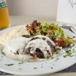 beef burgers with cretan cheese sauce and sage