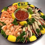 Cocktail shrimp and cocktail claw party tray