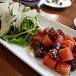 Ensalada de Atún, sandía y parmesano