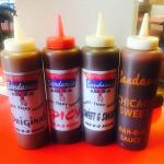 Four types of BBQ sauce,original,spicy, sweet & smoky, & Chicago sweet