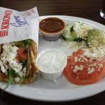 Chicken gyro pita wrap with village salad and Greek latte frappe