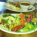 Red pepper soup and fish tacos at Empire Ale House