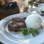 Petit sirloin steak with side of rice