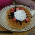 Waffle w/blueberries & strawberries